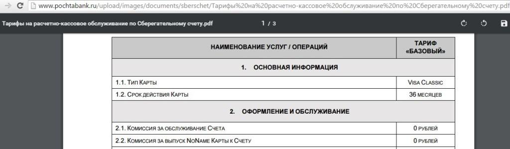 карта Почта Банка